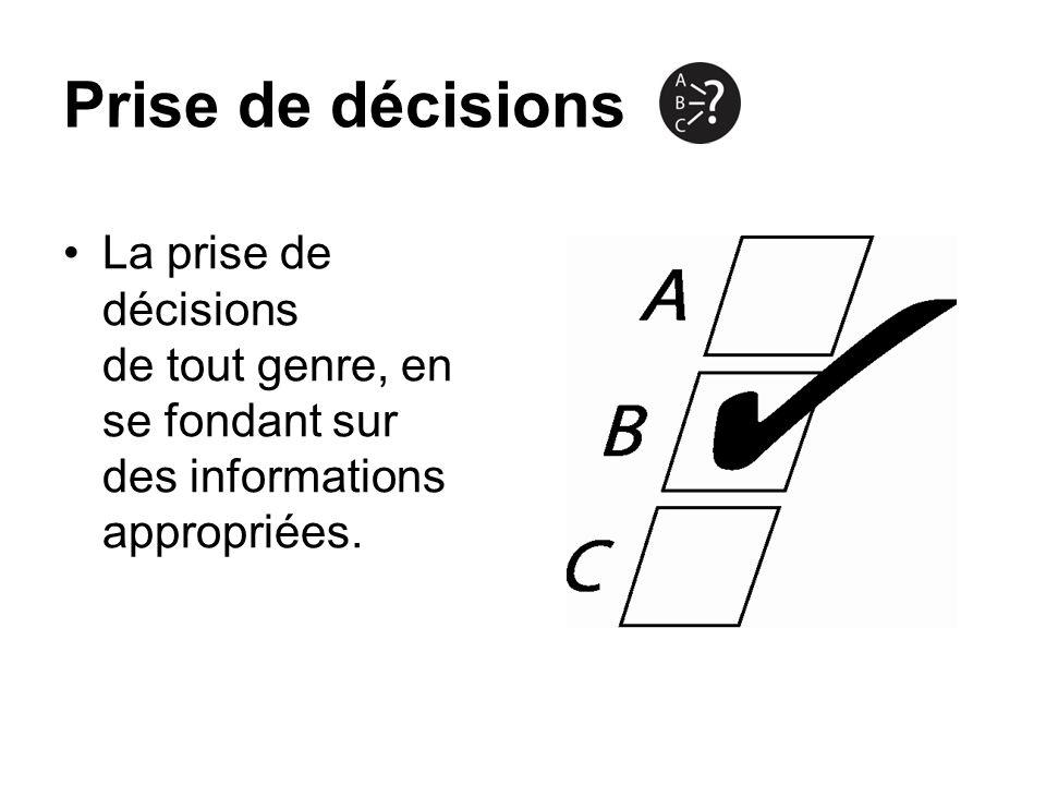 Prise de décisionsLa prise de décisions de tout genre, en se fondant sur des informations appropriées.