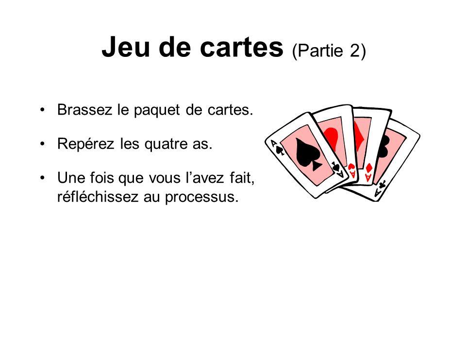 Jeu de cartes (Partie 2) Brassez le paquet de cartes.
