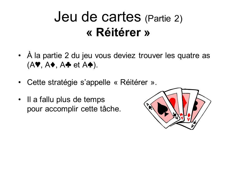Jeu de cartes (Partie 2) « Réitérer »