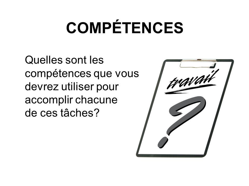 COMPÉTENCES Quelles sont les compétences que vous devrez utiliser pour accomplir chacune de ces tâches