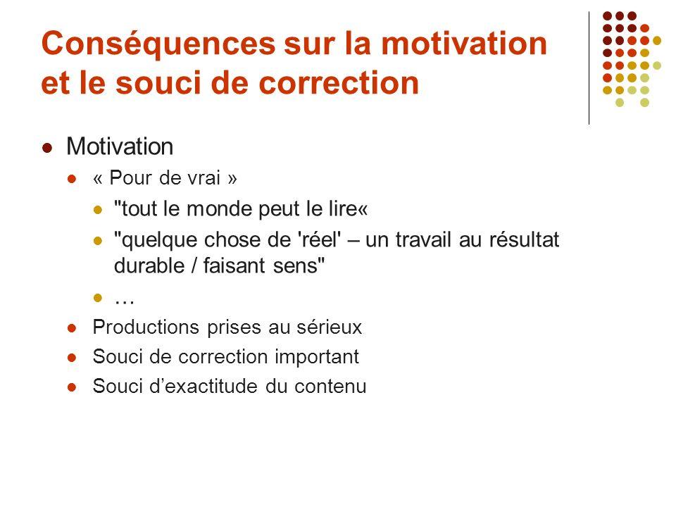 Conséquences sur la motivation et le souci de correction