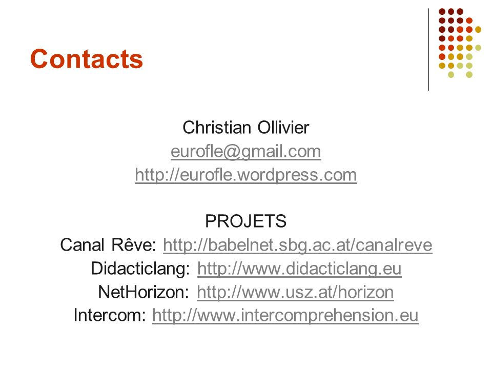 Contacts Christian Ollivier eurofle@gmail.com