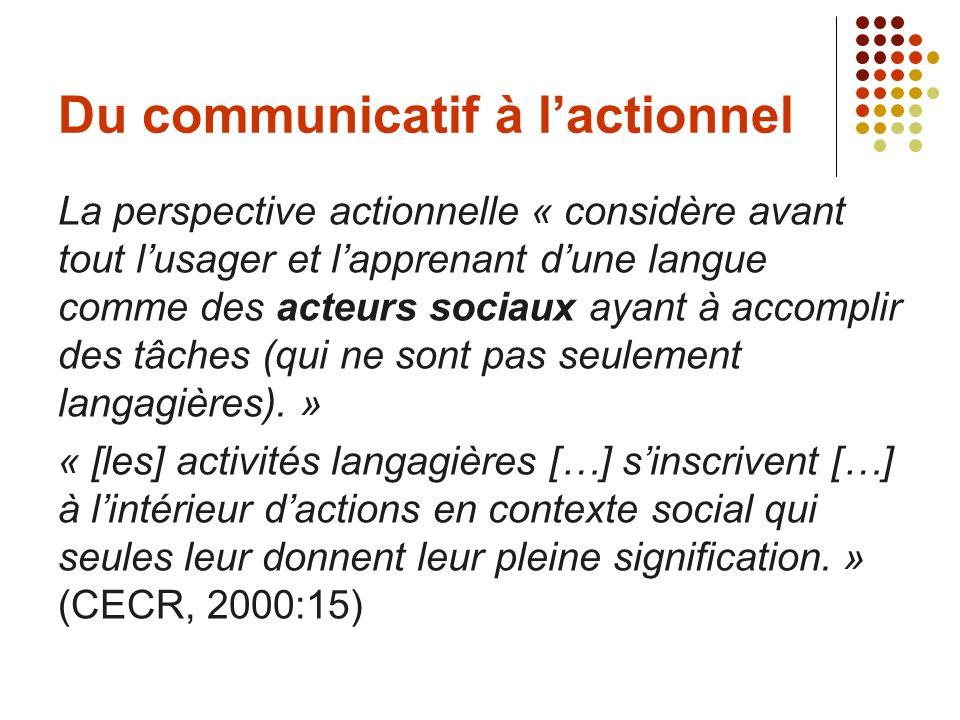 Du communicatif à l'actionnel