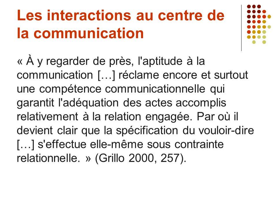 Les interactions au centre de la communication