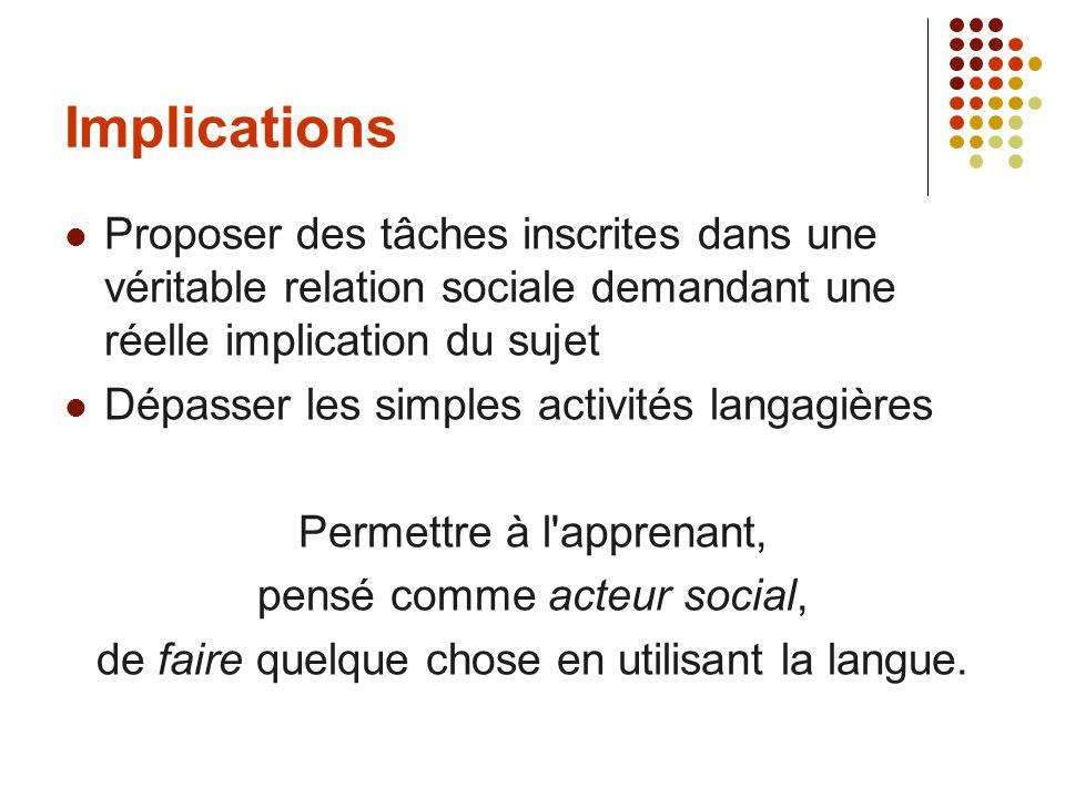 Implications Proposer des tâches inscrites dans une véritable relation sociale demandant une réelle implication du sujet.