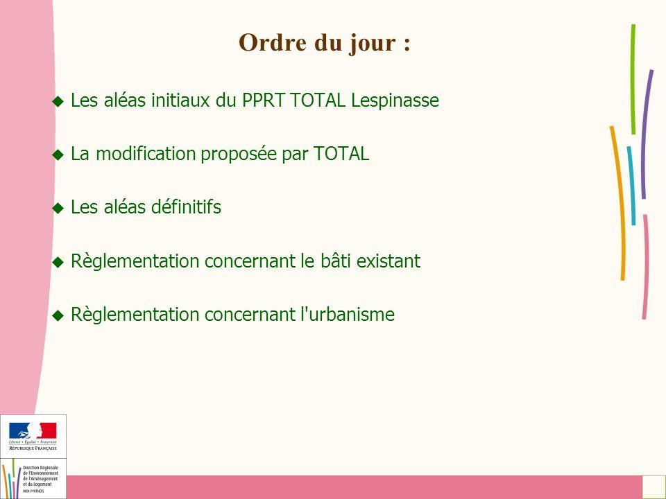 Ordre du jour : Les aléas initiaux du PPRT TOTAL Lespinasse