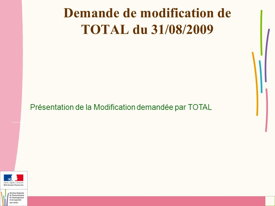 Demande de modification de TOTAL du 31/08/2009