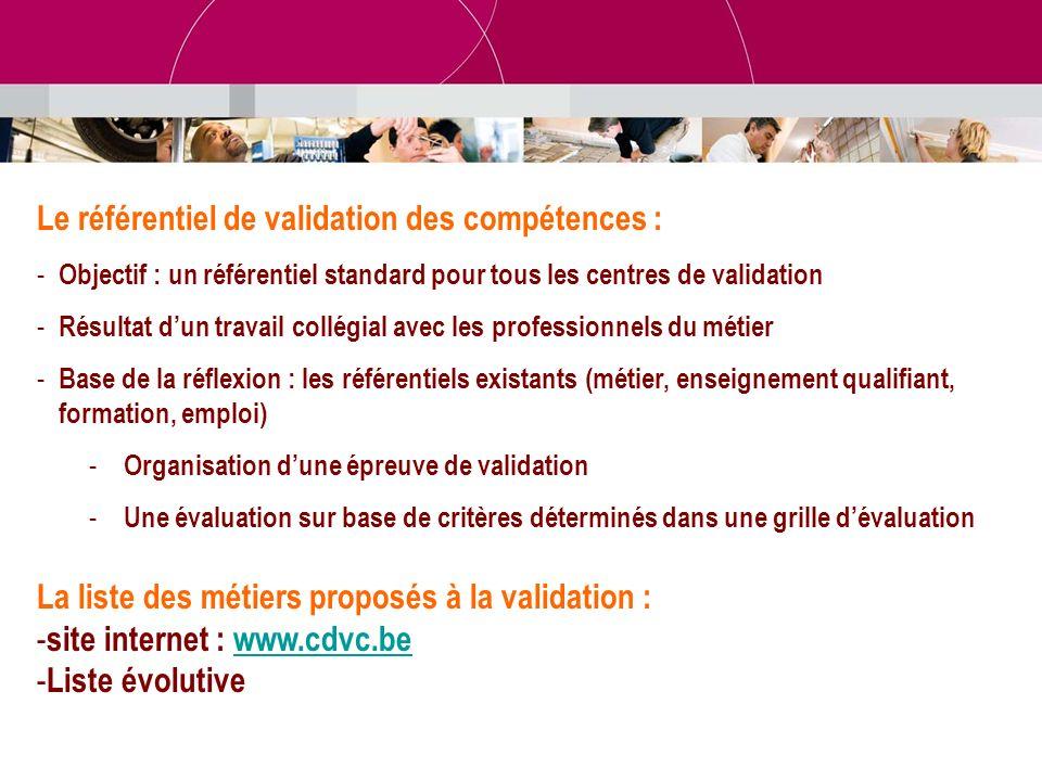 Le référentiel de validation des compétences :