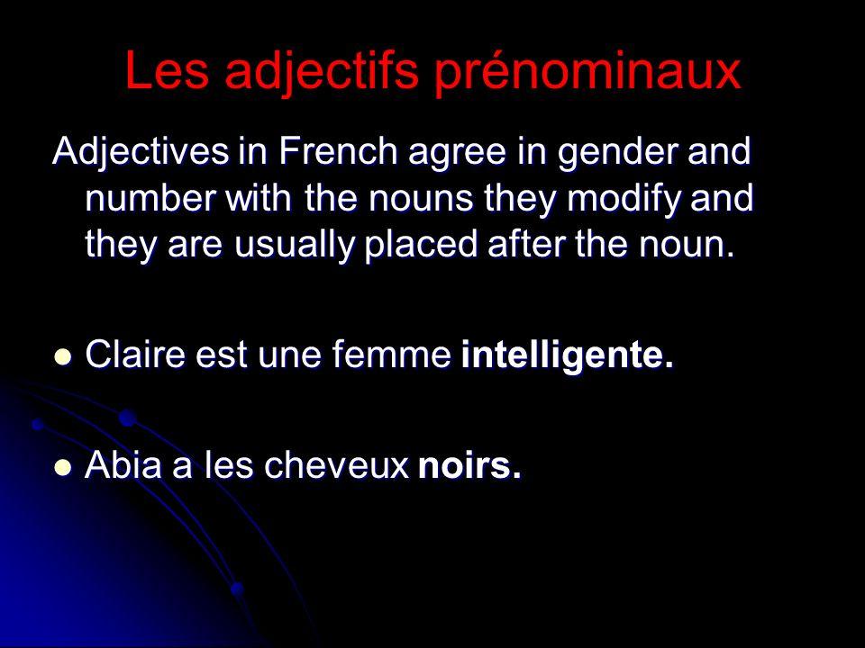Les adjectifs prénominaux
