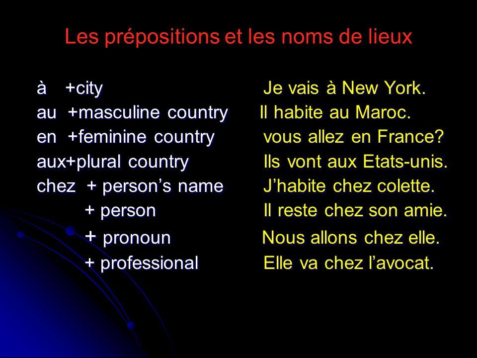 Les prépositions et les noms de lieux