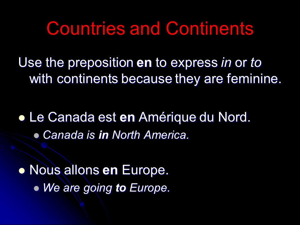 Countries and Continents