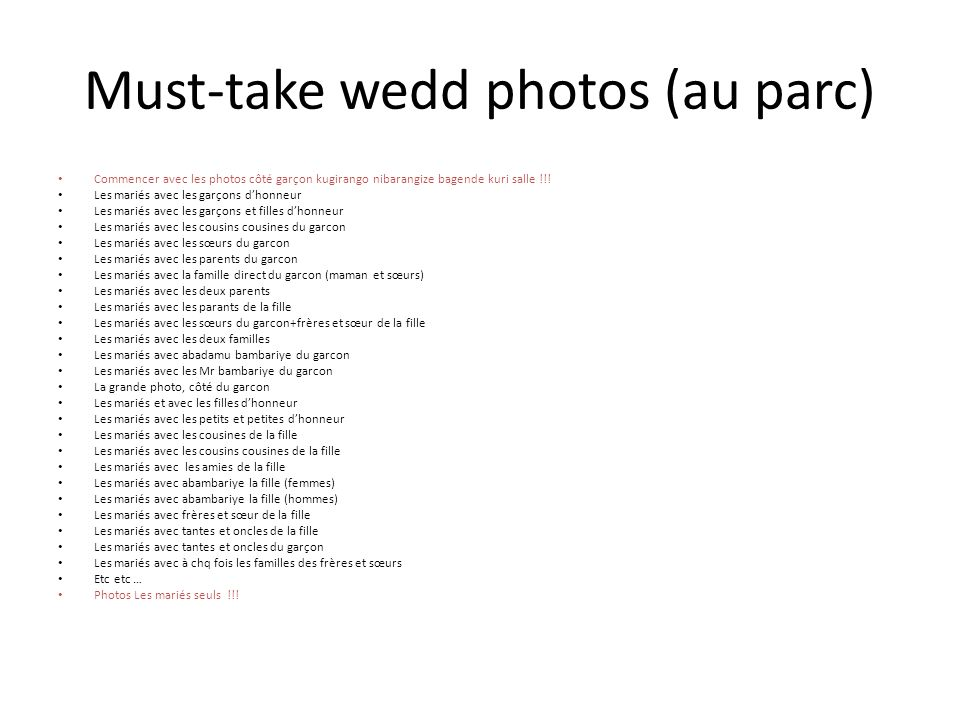 Must-take wedd photos (au parc)