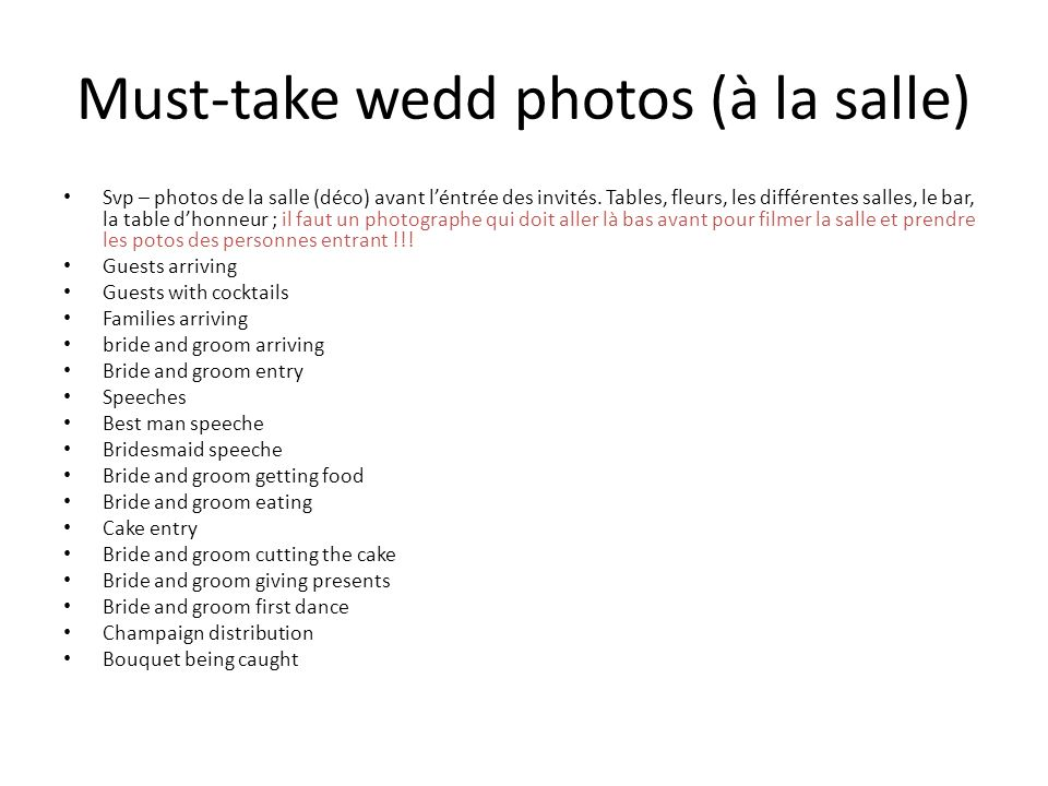 Must-take wedd photos (à la salle)