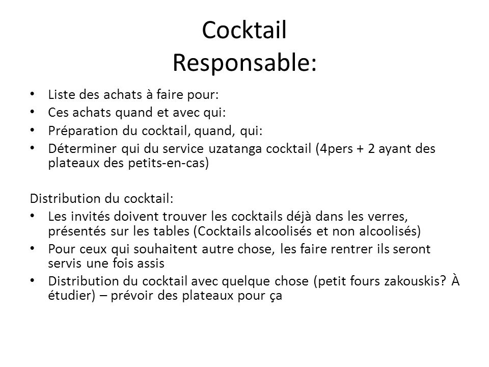 Cocktail Responsable: