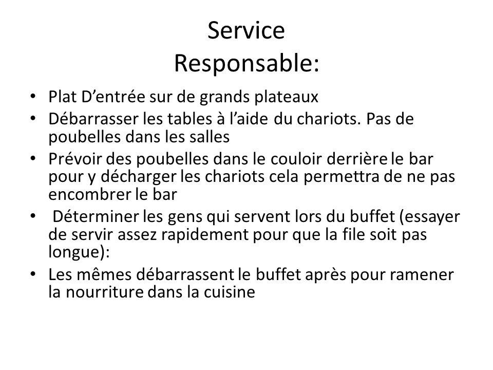 Service Responsable: Plat D'entrée sur de grands plateaux