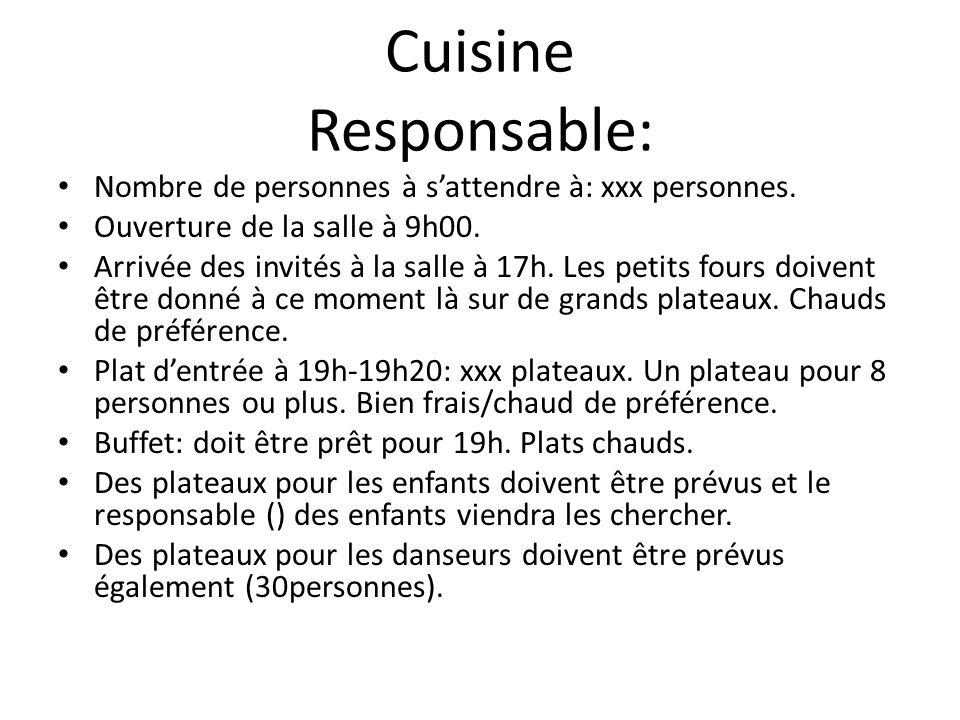 Cuisine Responsable: Nombre de personnes à s'attendre à: xxx personnes. Ouverture de la salle à 9h00.