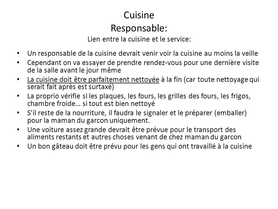 Cuisine Responsable: Lien entre la cuisine et le service:
