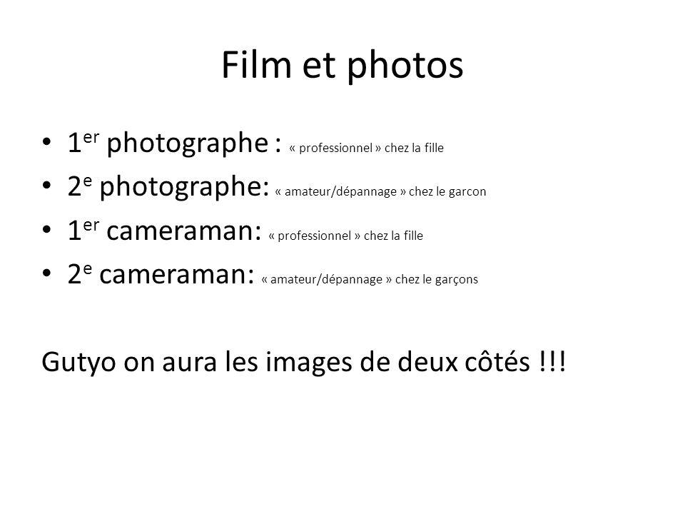 Film et photos 1er photographe : « professionnel » chez la fille