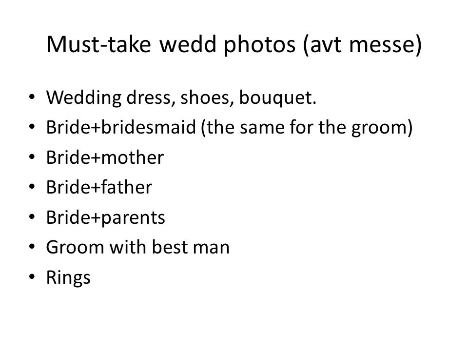 Must-take wedd photos (avt messe)