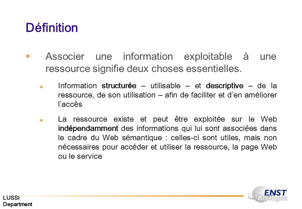 Définition Associer une information exploitable à une ressource signifie deux choses essentielles.