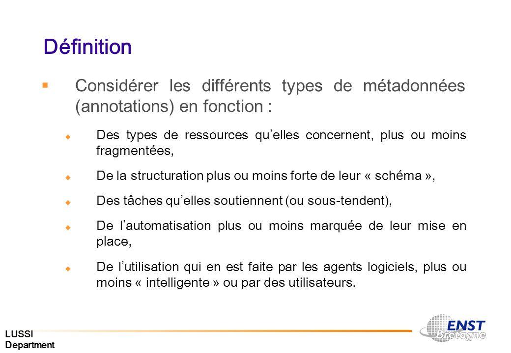 Définition Considérer les différents types de métadonnées (annotations) en fonction :