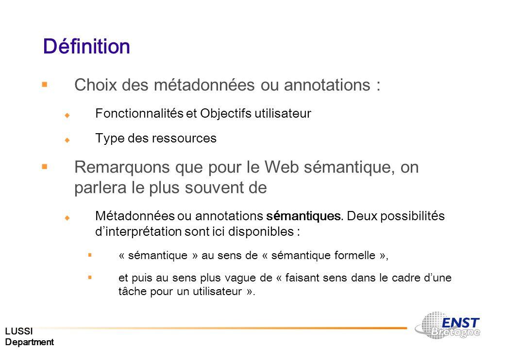 Définition Choix des métadonnées ou annotations :