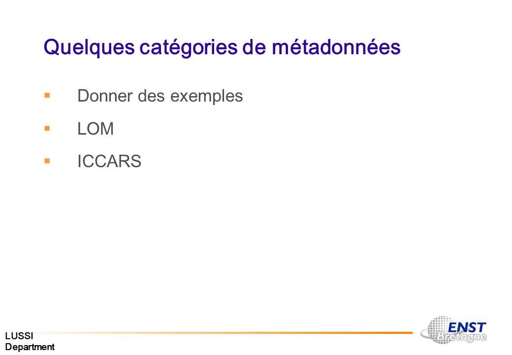 Quelques catégories de métadonnées