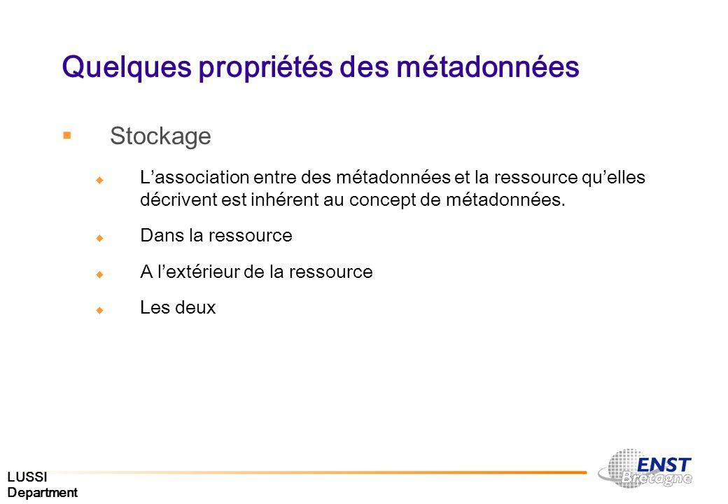 Quelques propriétés des métadonnées