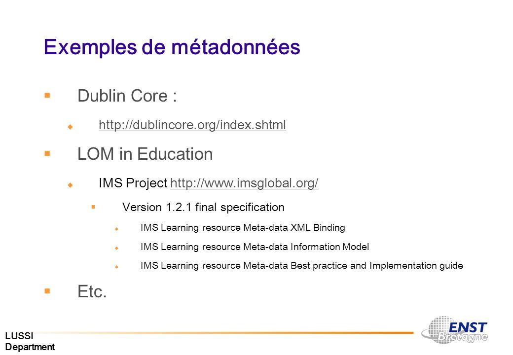 Exemples de métadonnées