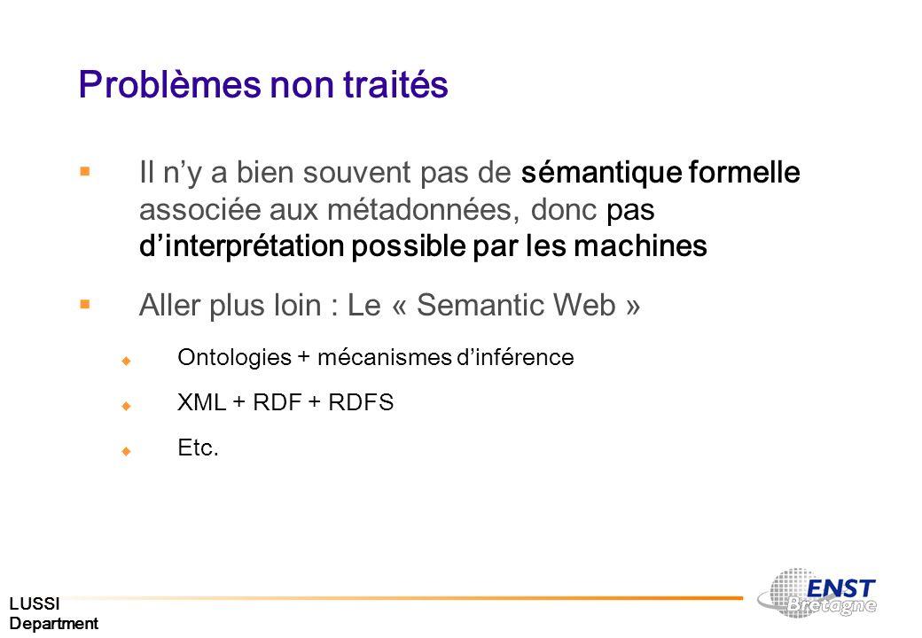 Problèmes non traités Il n'y a bien souvent pas de sémantique formelle associée aux métadonnées, donc pas d'interprétation possible par les machines.