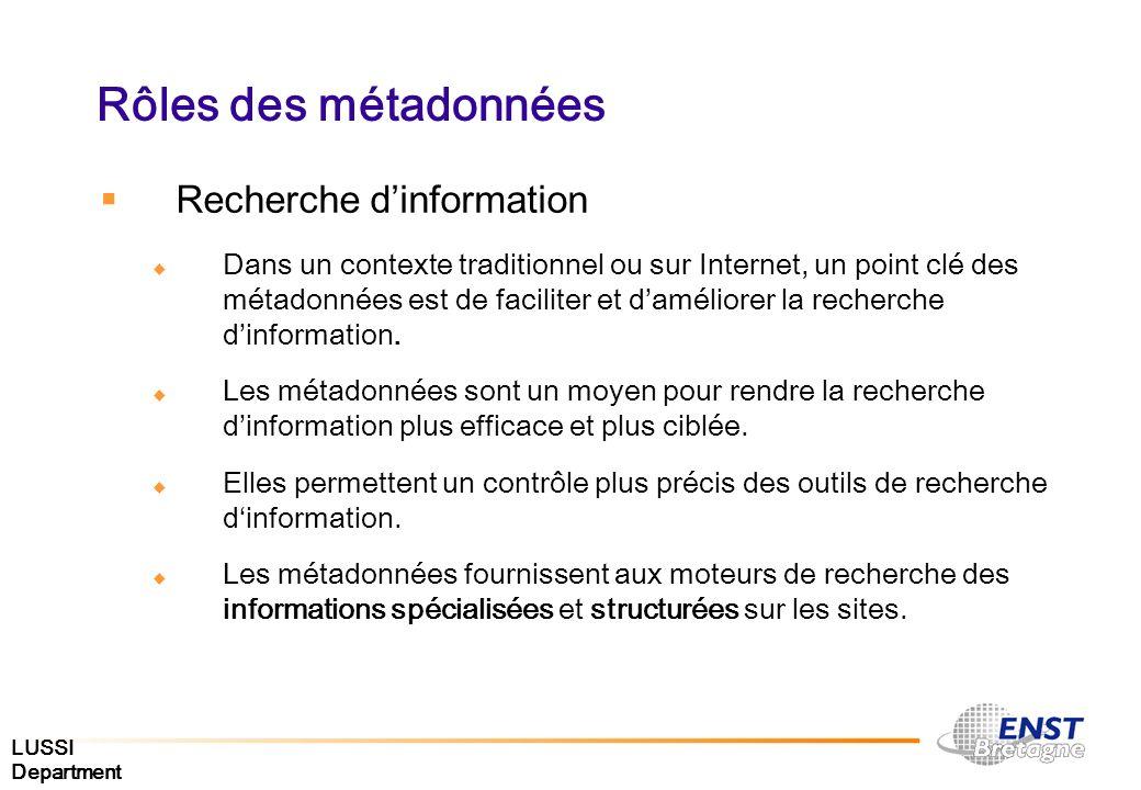 Rôles des métadonnées Recherche d'information