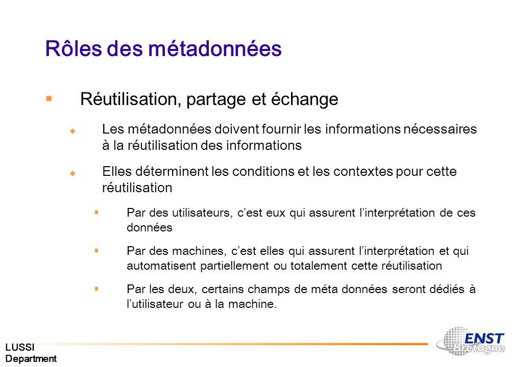 Rôles des métadonnées Réutilisation, partage et échange