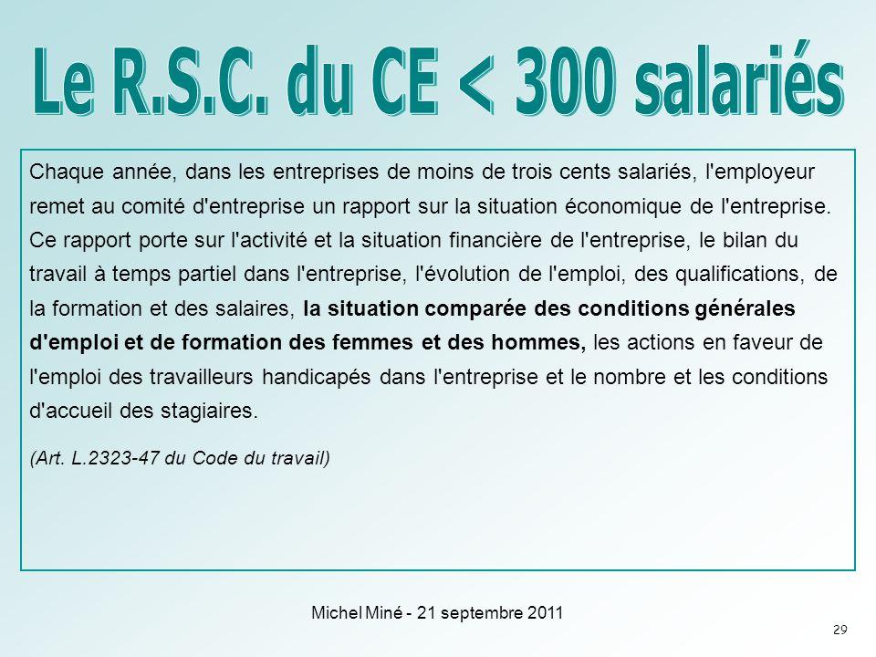 Le R.S.C. du CE < 300 salariés