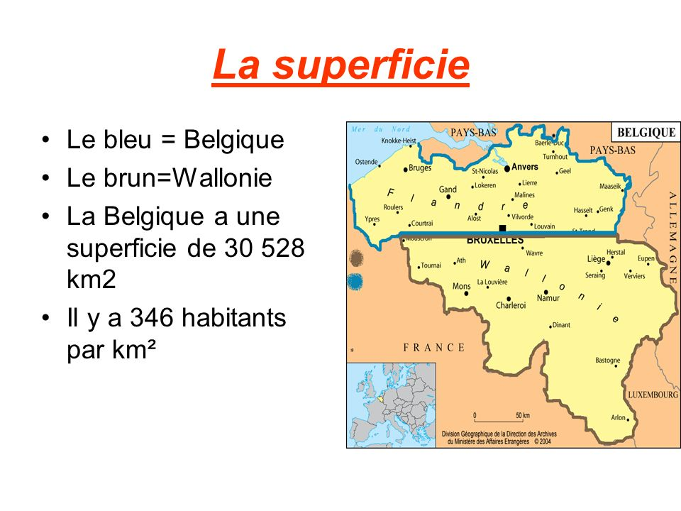 La superficie Le bleu = Belgique Le brun=Wallonie