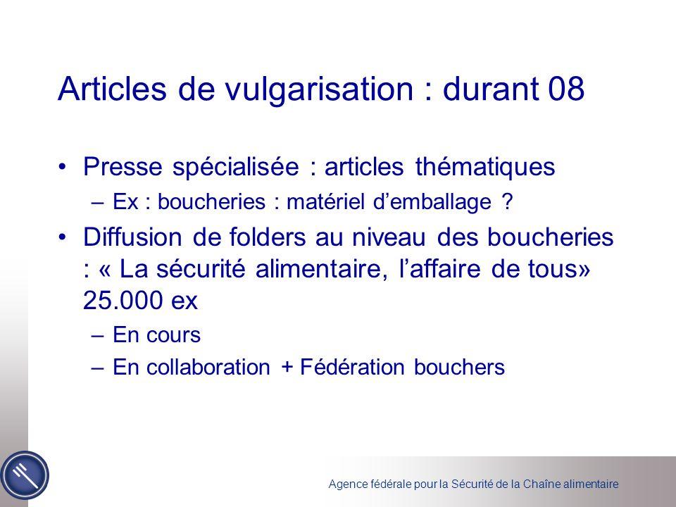 Articles de vulgarisation : durant 08