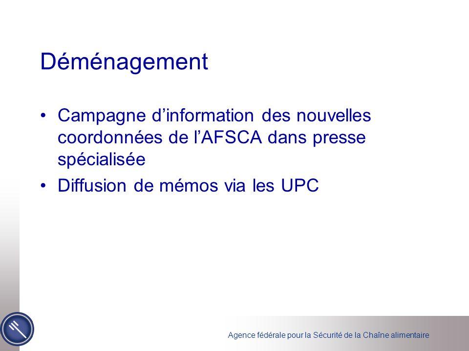 Déménagement Campagne d'information des nouvelles coordonnées de l'AFSCA dans presse spécialisée.