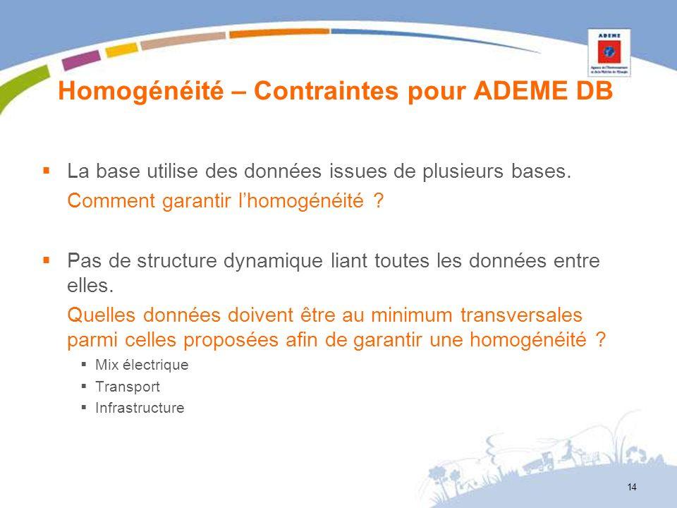 Homogénéité – Contraintes pour ADEME DB
