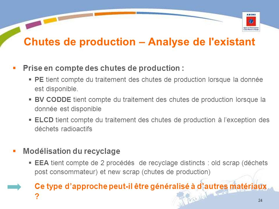 Chutes de production – Analyse de l existant