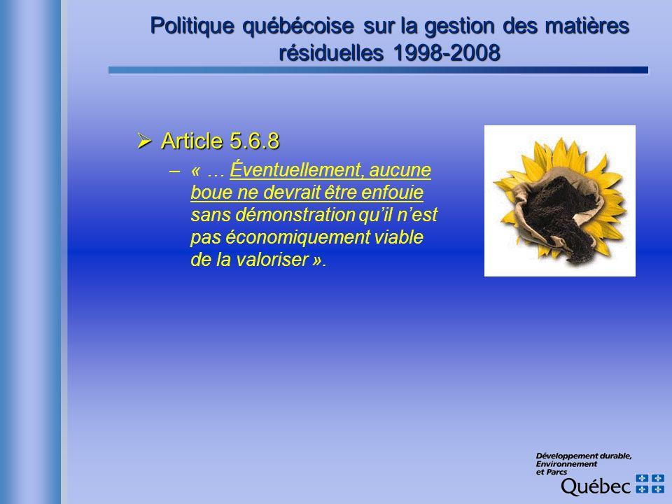 Politique québécoise sur la gestion des matières résiduelles 1998-2008