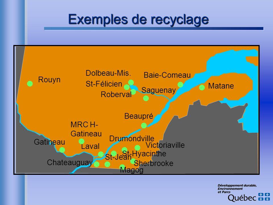 Exemples de recyclage n n n n n n n n n n n n n n n n n n Dolbeau-Mis.