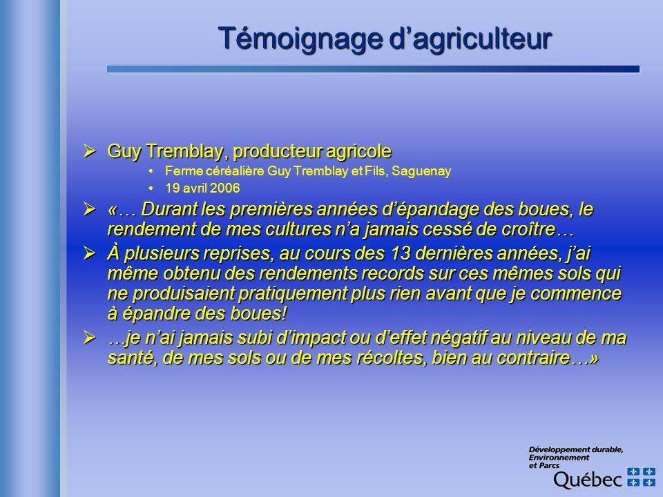 Témoignage d'agriculteur