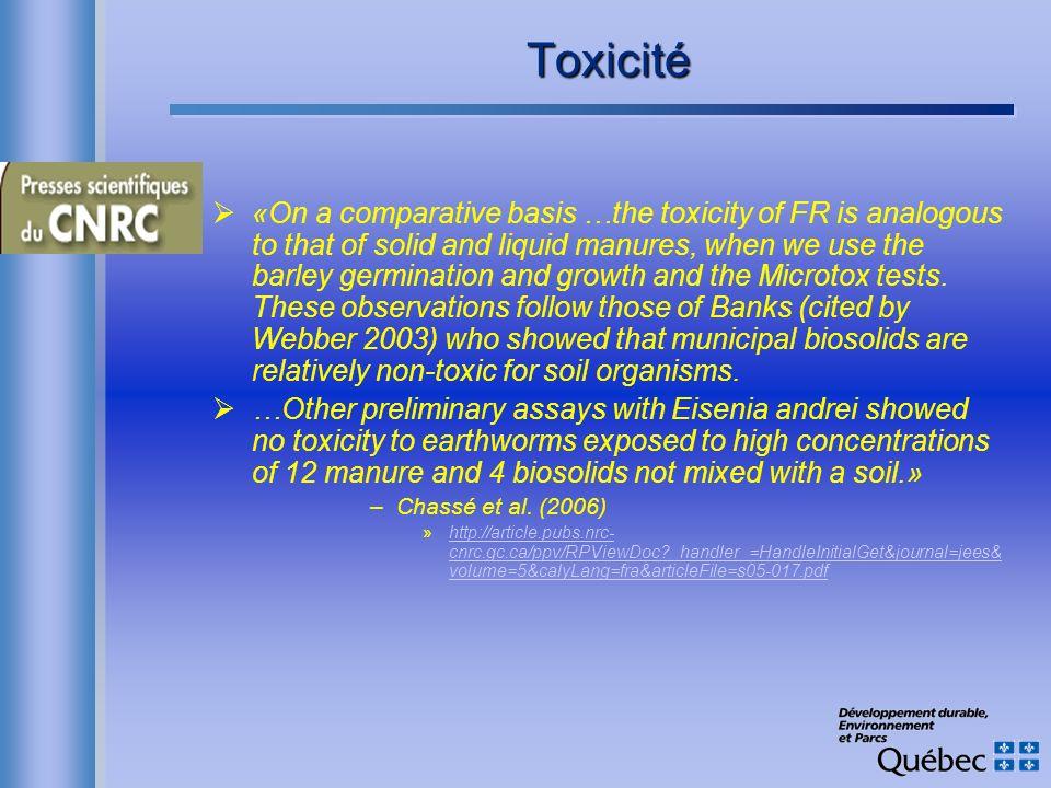 Toxicité