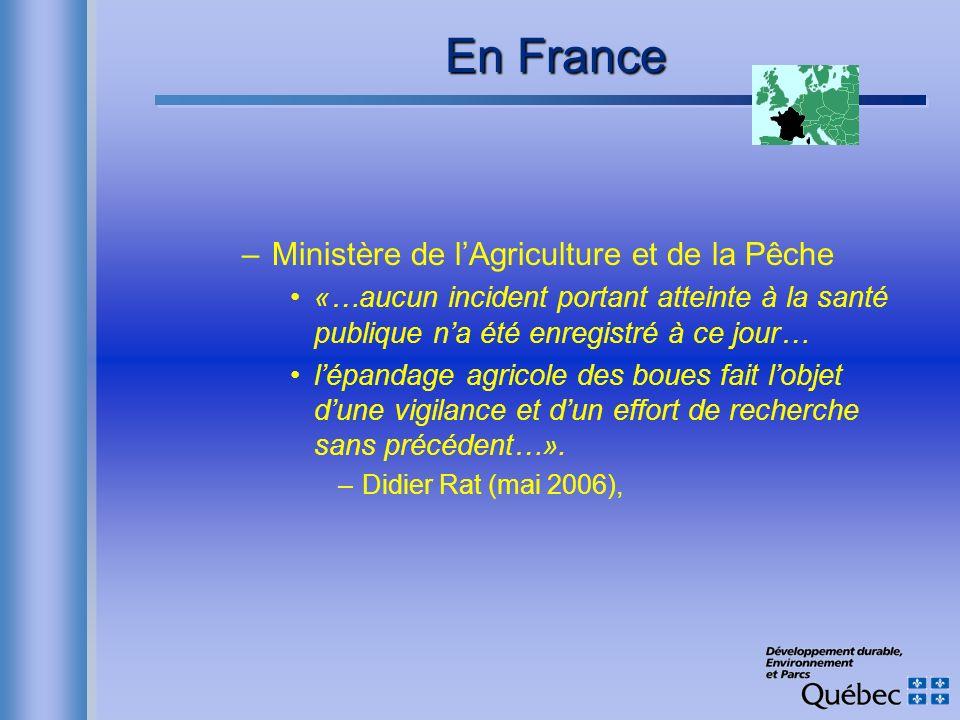 En France Ministère de l'Agriculture et de la Pêche