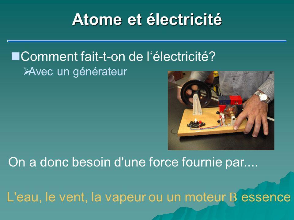 Atome et électricité Comment fait-t-on de l'électricité