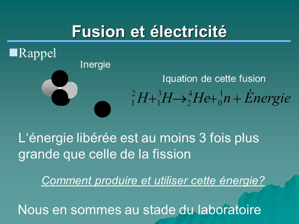 Fusion et électricité H He n Énergie + ® Rappel