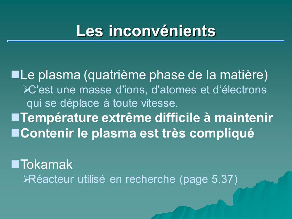 Les inconvénients Le plasma (quatrième phase de la matière)