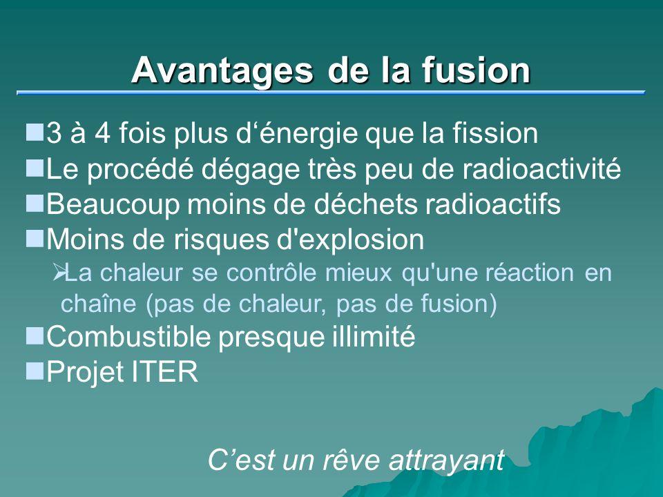 Avantages de la fusion 3 à 4 fois plus d'énergie que la fission