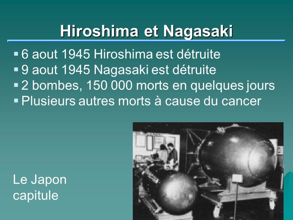 Hiroshima et Nagasaki 6 aout 1945 Hiroshima est détruite