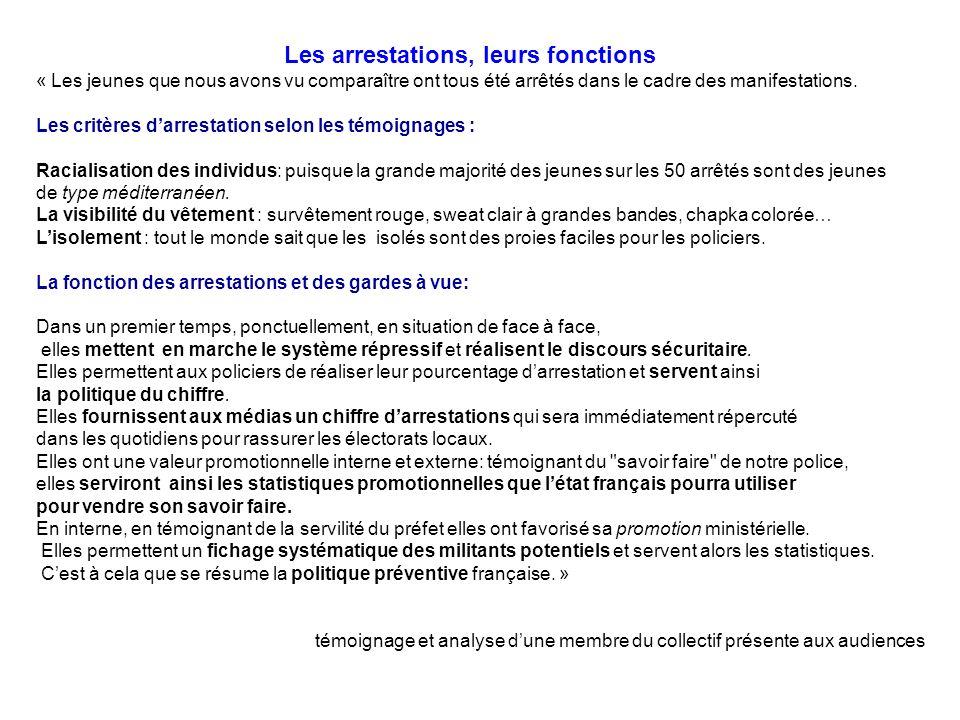 Les arrestations, leurs fonctions