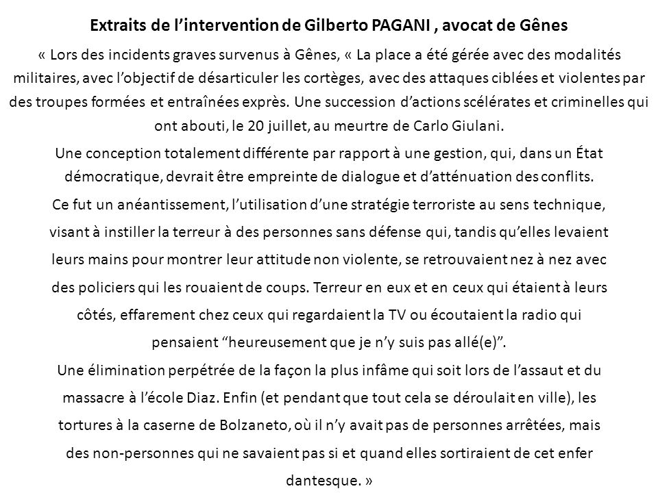 Extraits de l'intervention de Gilberto PAGANI , avocat de Gênes